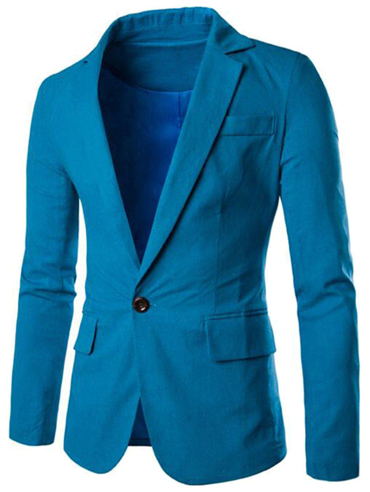One Button Slim Fit Blazer - MEDIUM BLUE 3XL