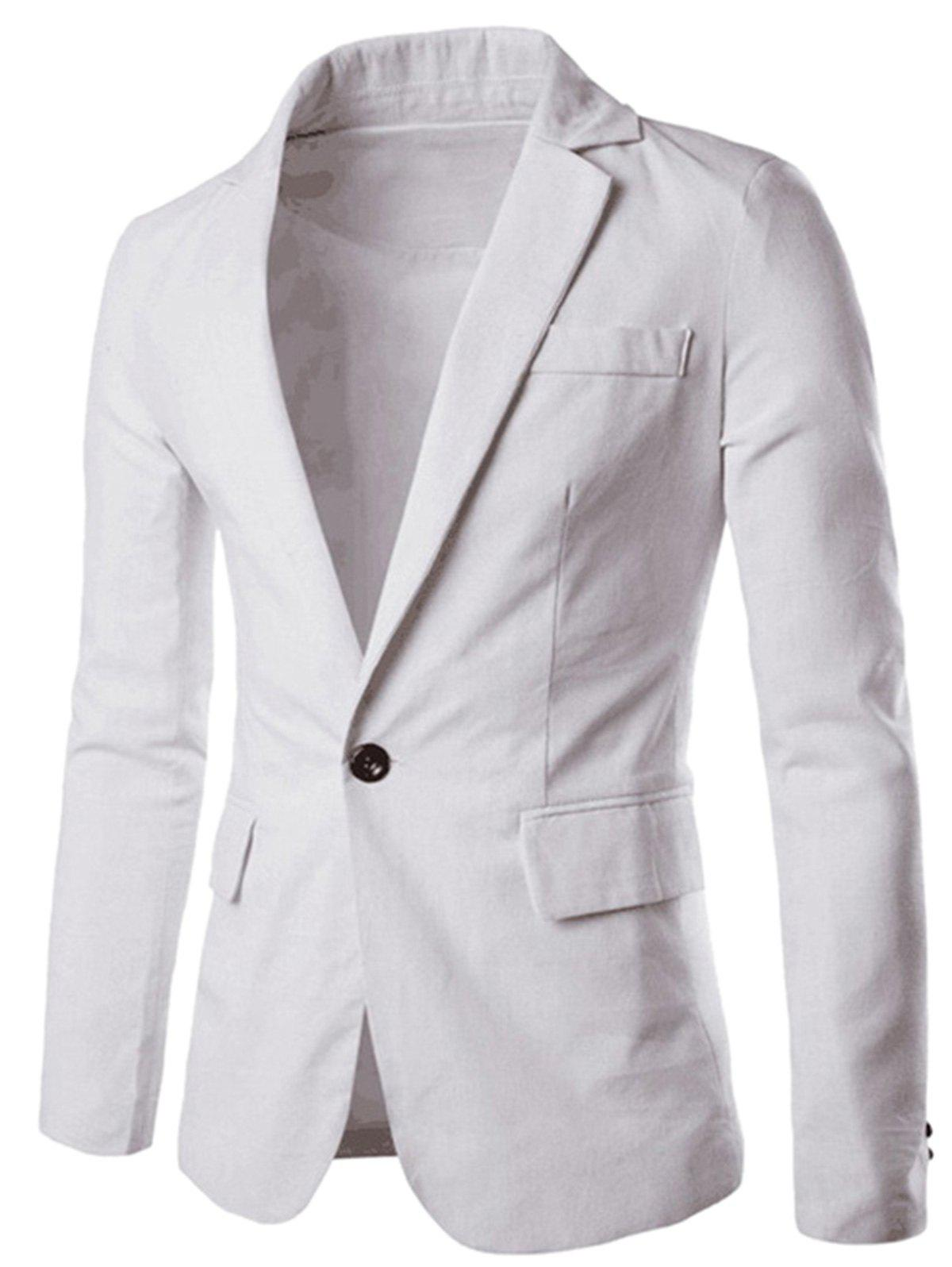 One Button Slim Fit Blazer - WHITE 2XL
