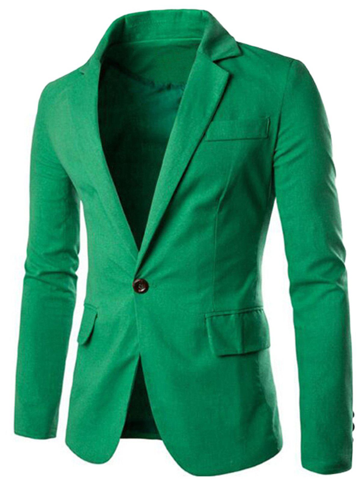 One Button Slim Fit Blazer - GREEN 3XL