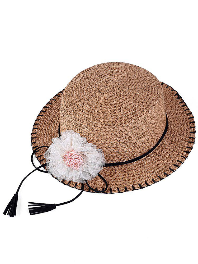 Bowknot Tassel Floral Straw Hat - LIGHT COFFEE