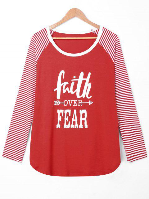 Plus Size Faith Over Fear Baseball Tee - RED 4XL