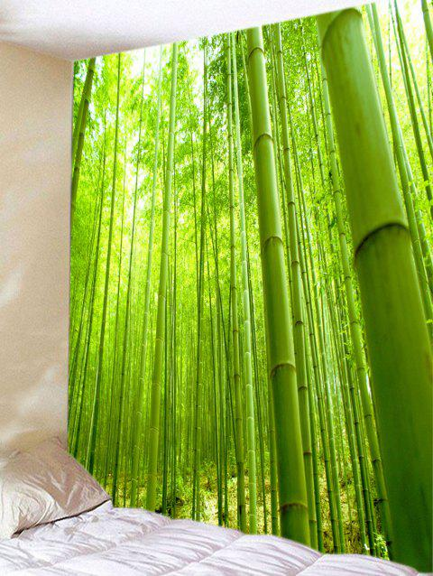Green Bamboo Forest View Print Wall Hanging Tapestry - GREEN W59 INCH * L59 INCH