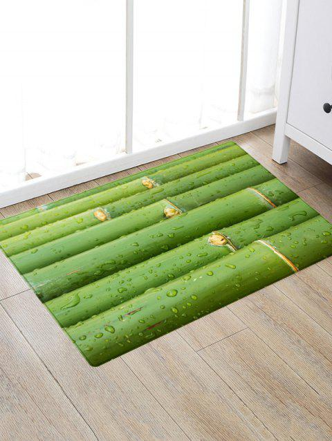 Bamboo Poles Print Anti-skid Floor Area Rug - GREEN W20 INCH * L31.5 INCH