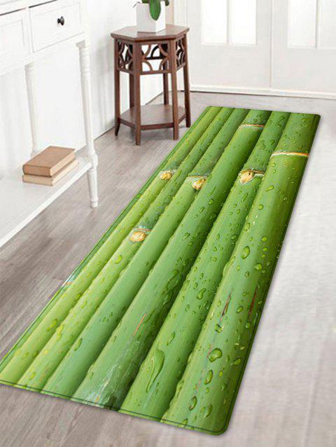 Bamboo Poles Print Anti-skid Floor Area Rug - GREEN W16 INCH * L47 INCH