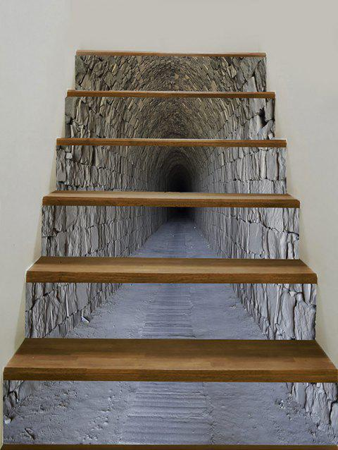 Tunnel Cave Pattern Floor Decor Stair Decals - SMOKY GRAY 100*18CM*6PCS