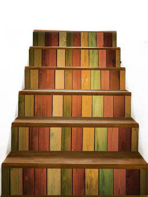 Colored Wood Board Home Decor Stair Stickers - COLORFUL 100*18CM*6PCS