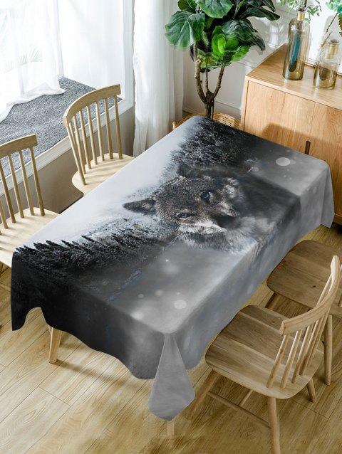 Wolf Print Waterproof Dining Table Cloth - BLACK W54 INCH * L54 INCH