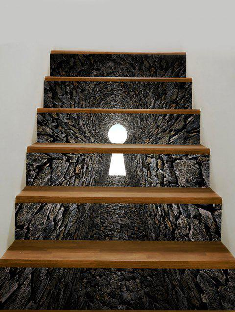 Removable Tunnel Print Decorative Stair Stickers - GRAY 100*18CM*6PCS