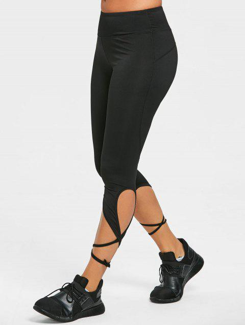 Wrap Tie Cropped Active Tights Leggings - BLACK S