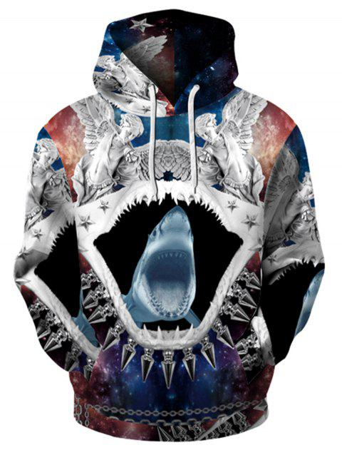 Abstract 3D Shark Print Pullover Hoodie - COLORMIX L