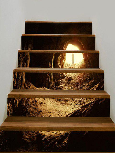 Mountain Cave with Man Print Decorative Stair Stickers - GRAY 100*18CM*6PCS
