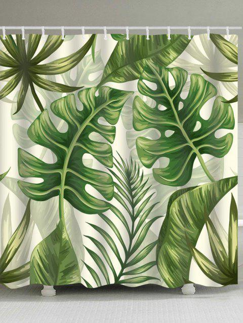 Tropical Plant Leaves Print Shower Curtain - GREEN W71 INCH * L79 INCH