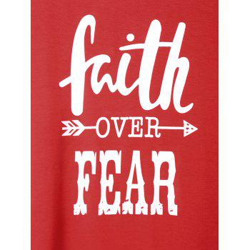 Plus Size Faith Over Fear Baseball Tee - RED XL