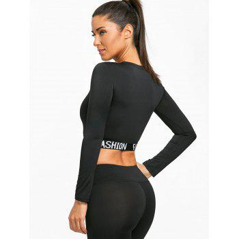 Crew Neck Exercise Belly Top - BLACK M