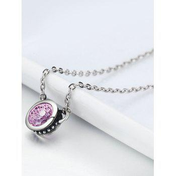 Artificial Crystal Silver Collarbone Pendant Necklace - PINK
