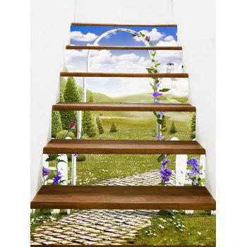 Autocollants d'Escaliers à Imprimé Scène de Jardin Secret - GREEN 100*18CM*6PCS