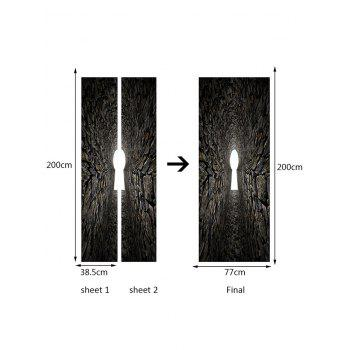 Tunnel Entrance Print Door Decals - GRAY 38.5*200CM*2PCS