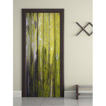 Lacquer Wood Board Print Door Stickers - YELLOW GREEN 38.5*200CM*2PCS