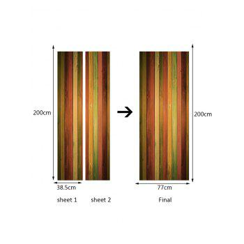 Colorful Wood Board Grain Print Door Stickers - COLORFUL 38.5*200CM*2PCS