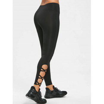 Cutout Hem Sports Tights Leggings - BLACK XL