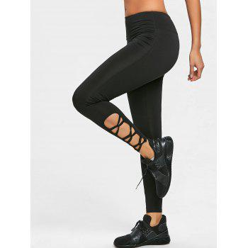 Cutout Hem Sports Tights Leggings - BLACK 2XL