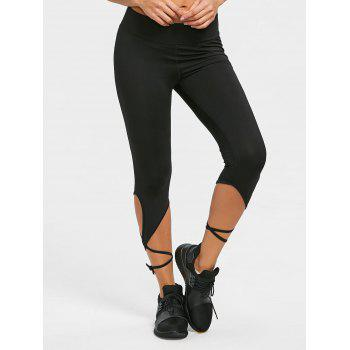 Wrap Tie Cropped Active Tights Leggings - BLACK M