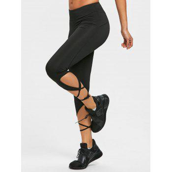 Wrap Tie Leggings Collants actifs - Noir 2XL