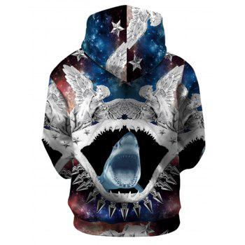 Abstract 3D Shark Print Pullover Hoodie - COLORMIX S