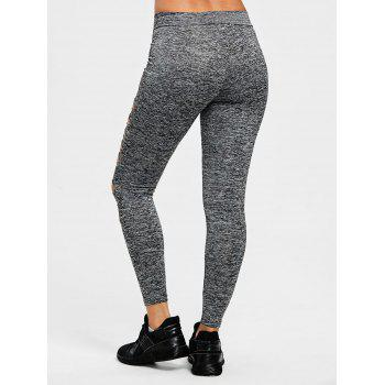 Marled Ladder Shredding Cut Yoga Leggings - HEATHER GRAY S