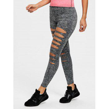 Marled Ladder Shredding Cut Yoga Leggings - HEATHER GRAY 2XL