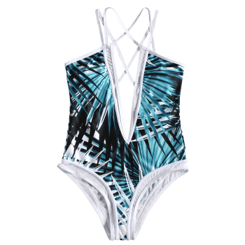 Printed Mesh Panel One Piece Swimsuit - COLORMIX S