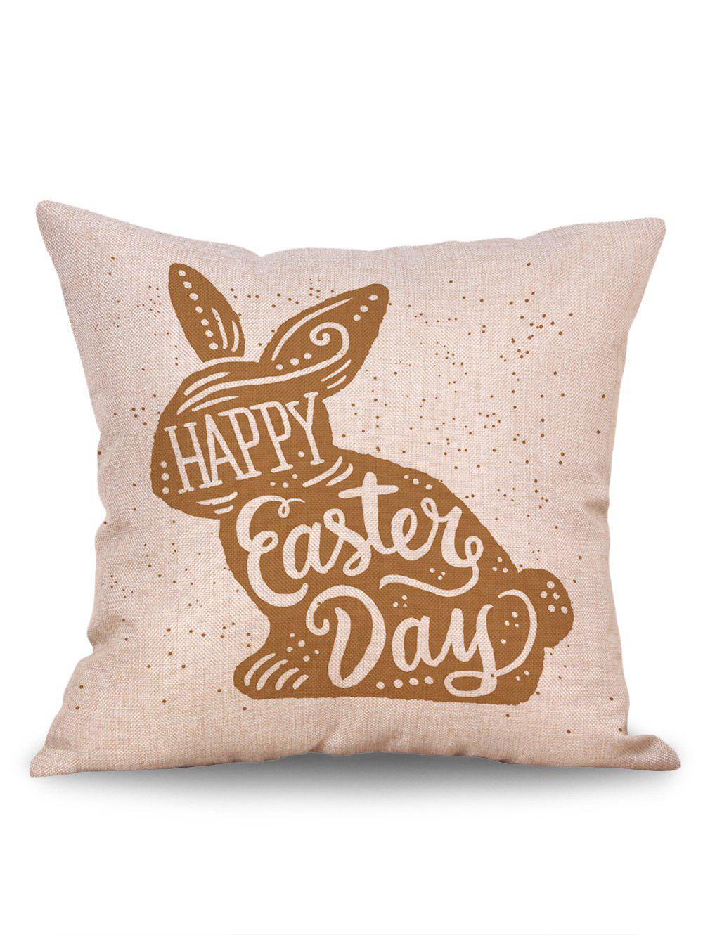 Easter Rabbit Print Pillow Cover - BROWN W18 INCH * L18 INCH
