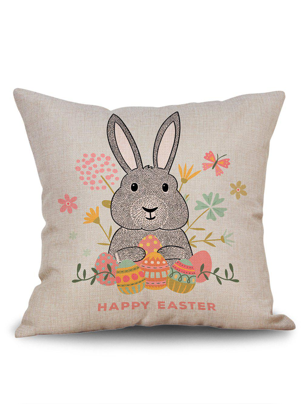 2018 Bunny Happy Easter Egg Print Decorative Pillow Cover GRAY W INCH L INCH In Decorative ...