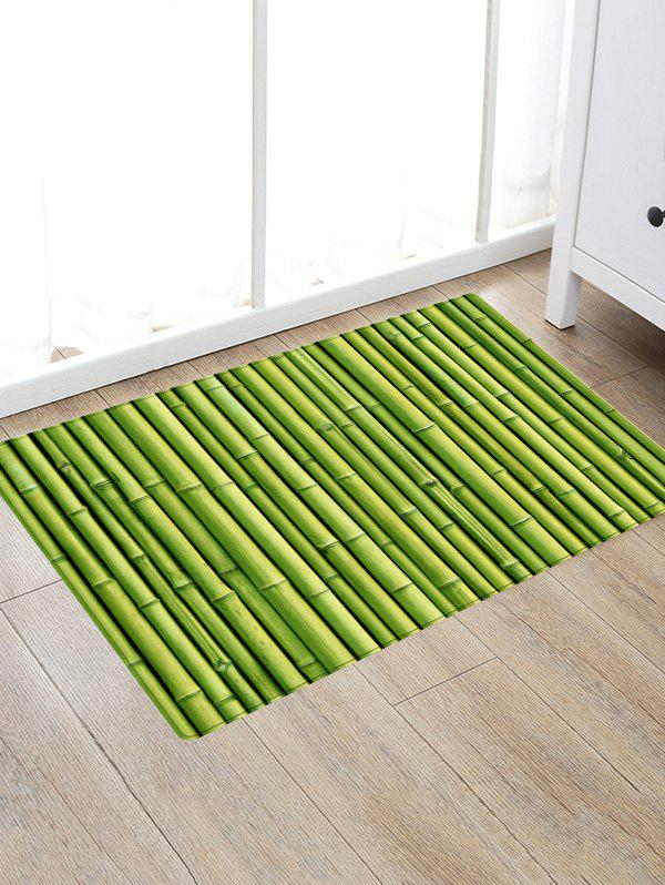 Bamboo Pole Print Floor Area Rug - GREEN W16 INCH * L24 INCH