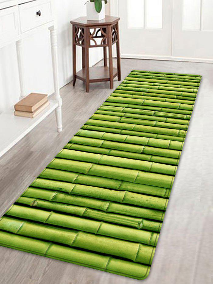 Bamboo Pole Print Floor Area Rug - GREEN W16 INCH * L47 INCH