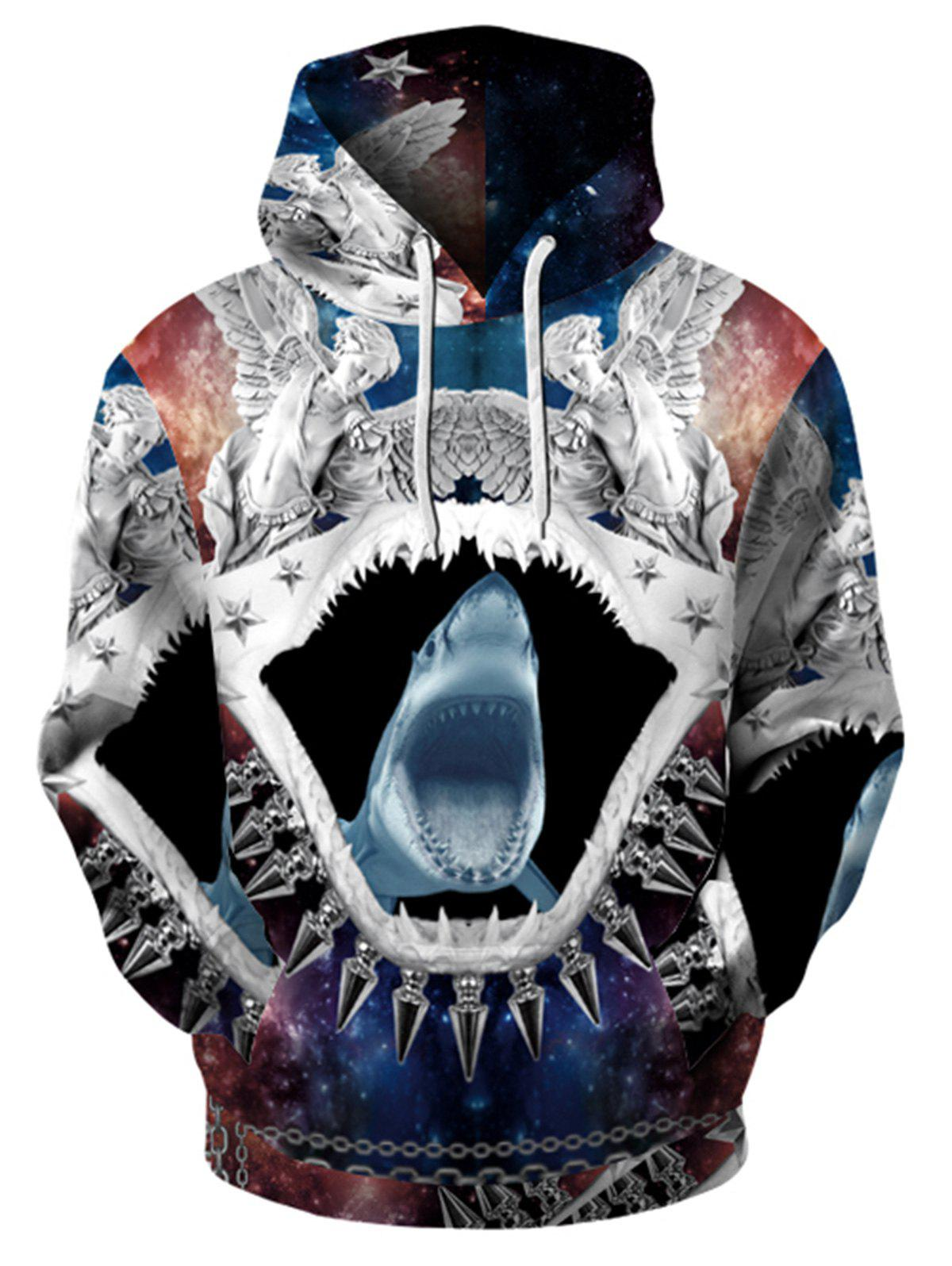 Sweat-Shirt à Capuche Imprimé Requin Style Abstrait 3D - multicolore M