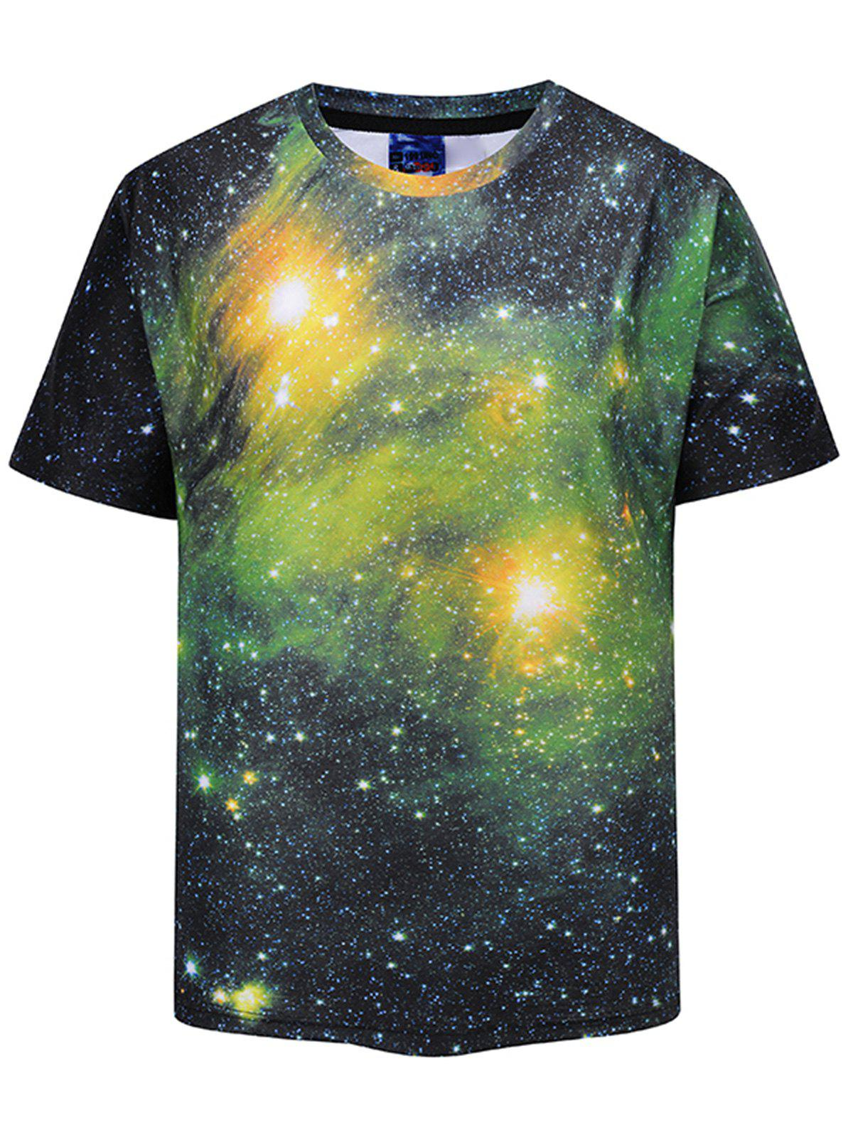 Crew Neck 3D Print Galaxy T-shirt 3d galaxy print crew neck trippy t shirt