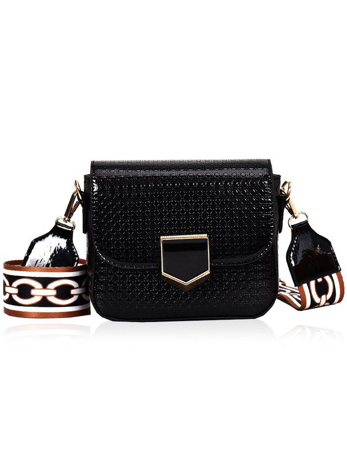 Printed Strap Embossed Casual Crossbody Bag - BLACK