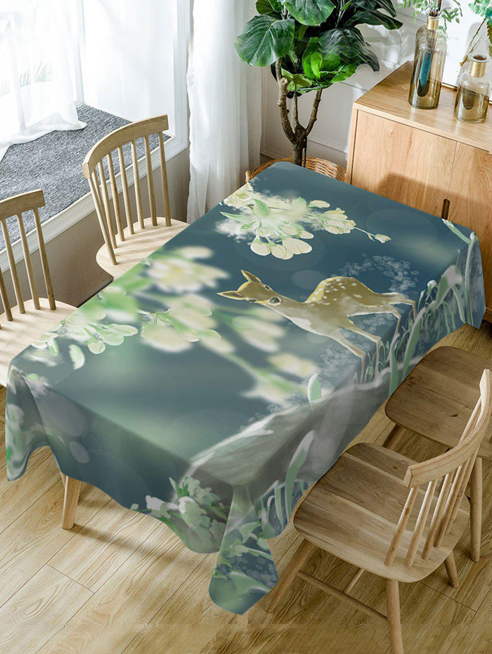 Nappe de Table Imperméable à Imprimé Cerf - multicolore W54 INCH * L72 INCH