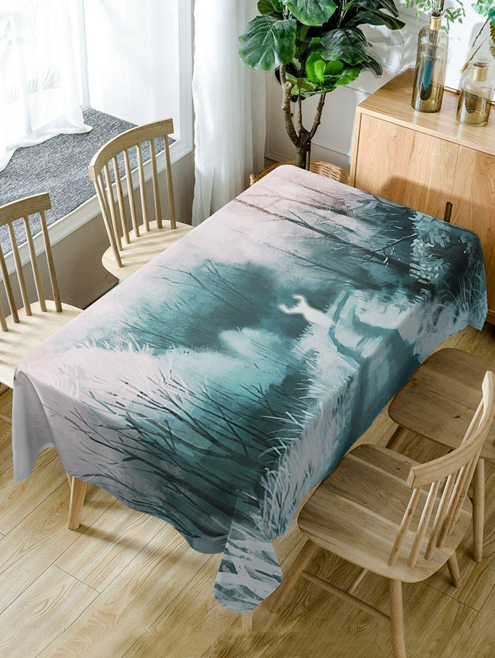 Forest Deer Print Waterproof Dining Table Cloth - COLORMIX W54 INCH * L54 INCH