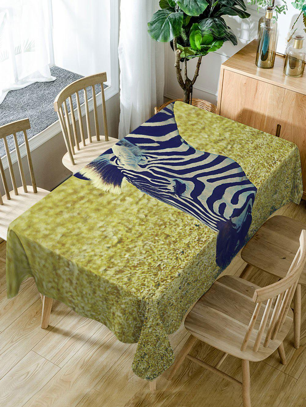 Zebra Grassland Print Waterproof Dining Table Cloth - COLORMIX W54 INCH * L72 INCH