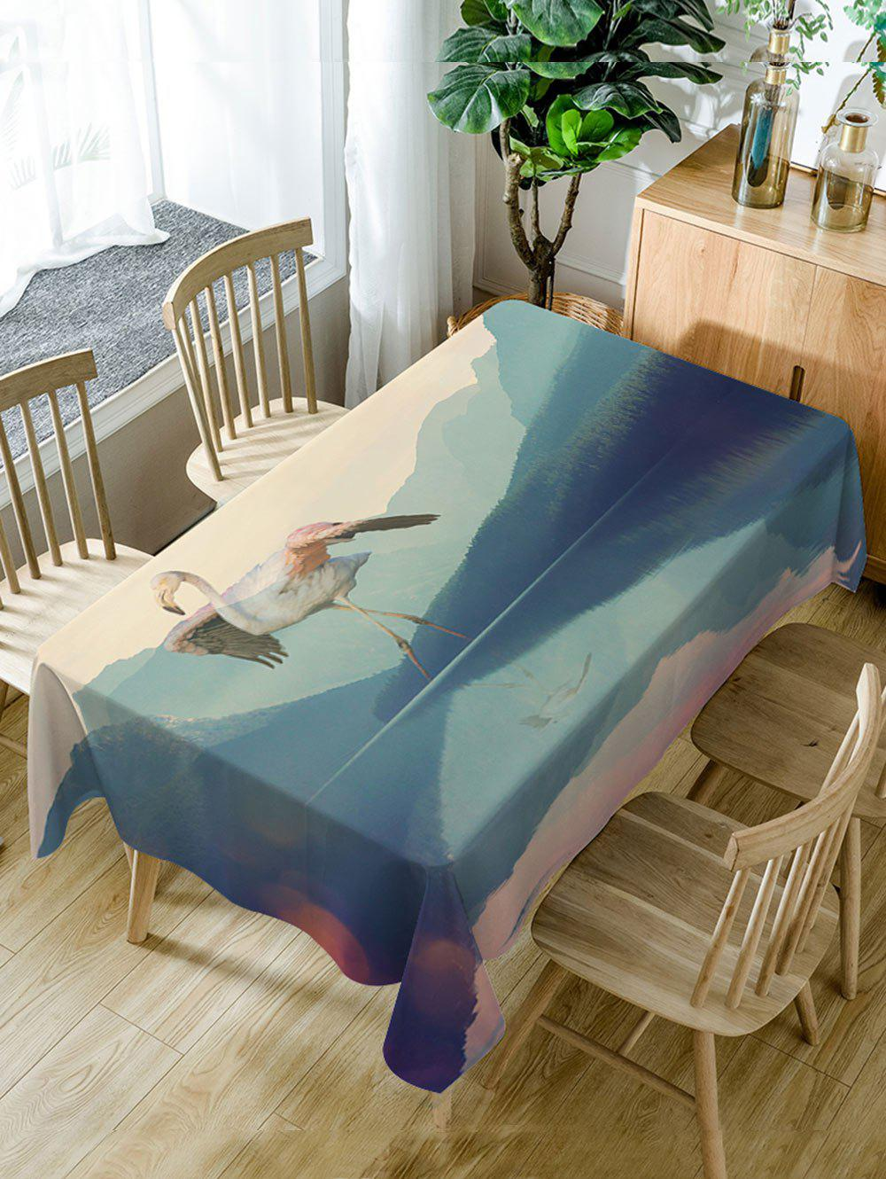 Flamingo Mountains Print Waterproof Table Cloth - COLORMIX W54 INCH * L72 INCH