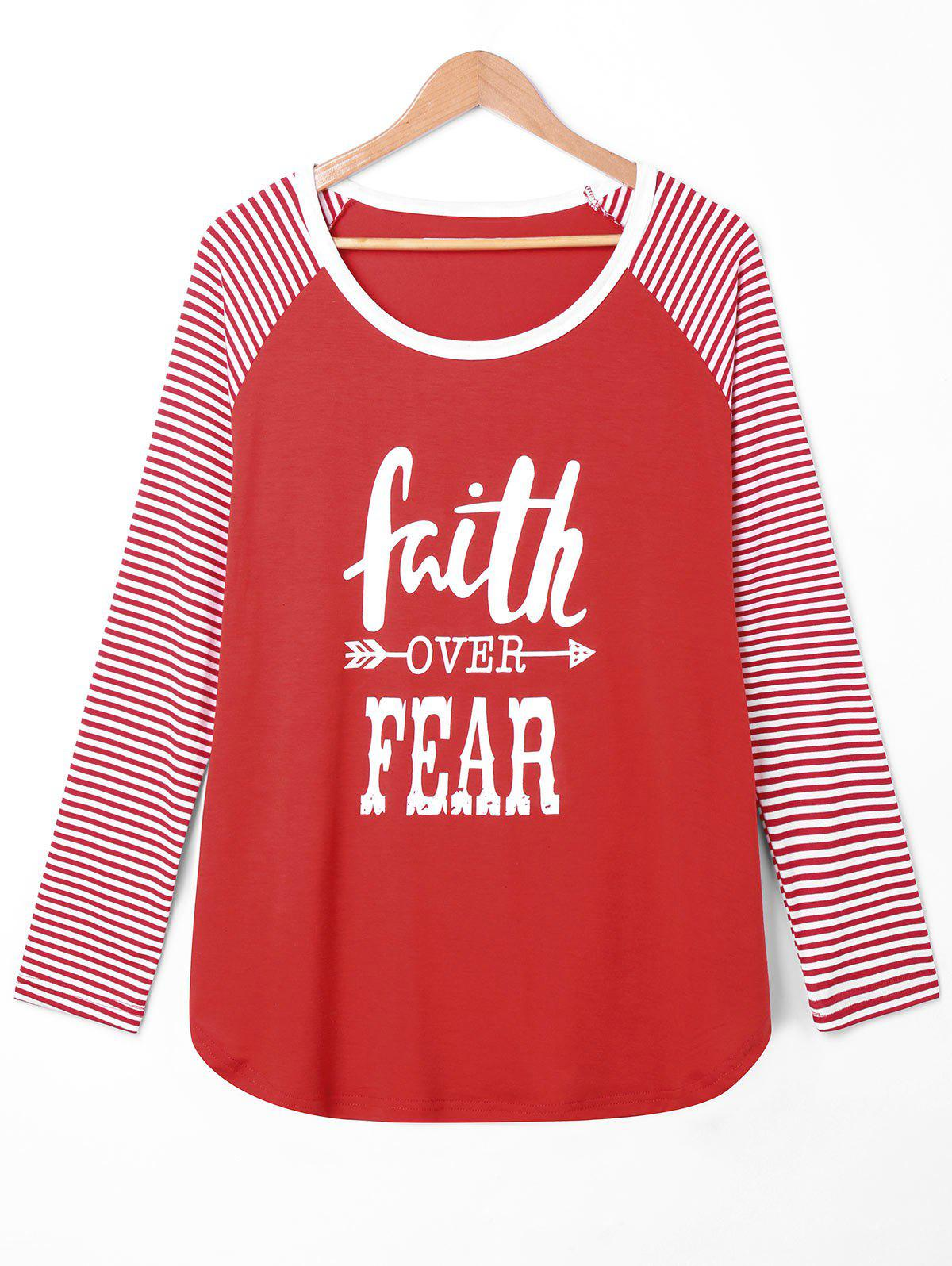 Plus Size Faith Over Fear Baseball Tee - RED 2XL