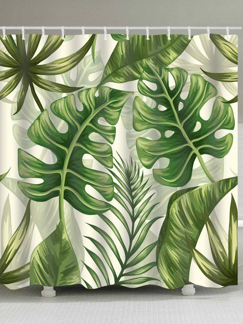 2018 Tropical Plant Leaves Print Shower Curtain GREEN W INCH L ...