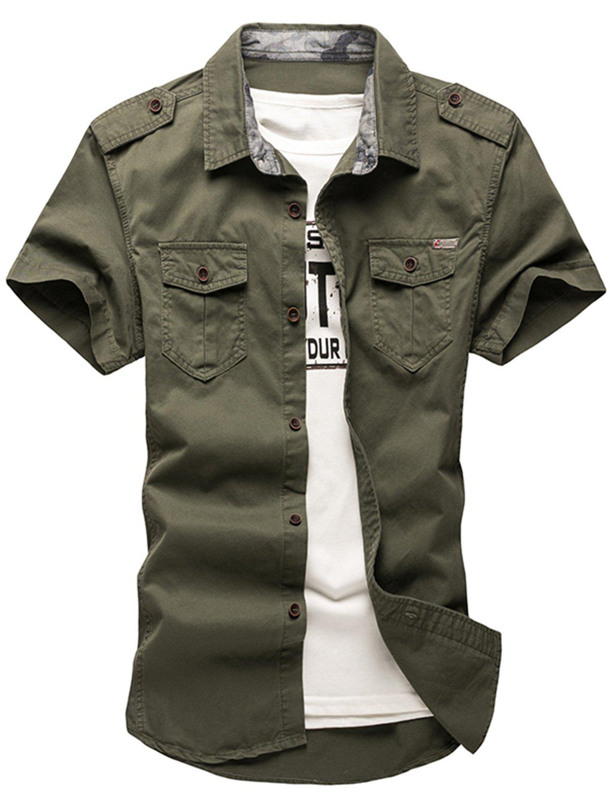 2018 epaulet design fatigue shirt army green xs in shirts for Army design shirts online