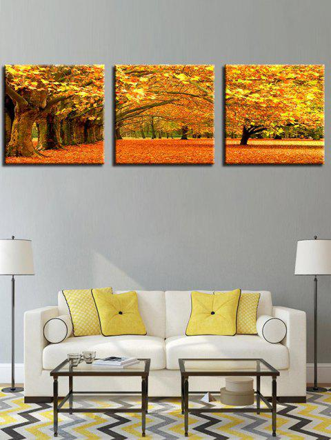 Natural Falling Down Leaves Print Wall Art Painting - DEEP BROWN 3PC:16*16 INCH( NO FRAME )