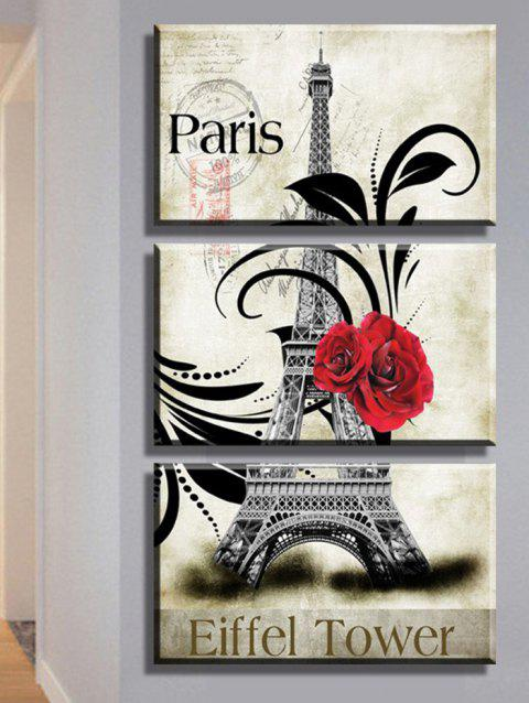 Flower Paris Eiffel Tower Printed Unframed Canvas Paintings - GRAY 3PC:12*18 INCH( NO FRAME )