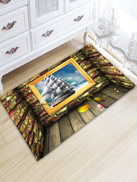 Wood Plank Stone Wall Boat Print Floor Rug - COLORMIX W20 INCH * L31.5 INCH
