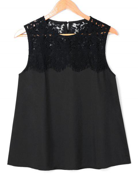 Crochet Lace Insert Sleeveless Blouse - BLACK M