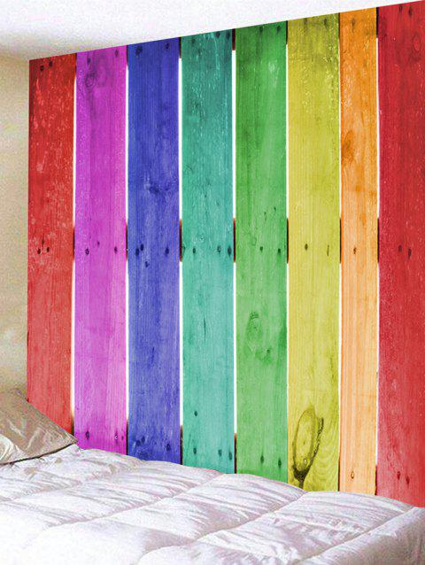 Colorful Wood Board Print Tapestry Wall Hanging Decor - COLORFUL W91 INCH * L71 INCH